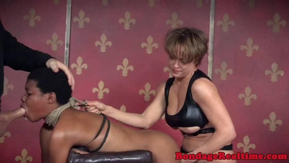 Hogtied black bdsm submissive paddled ebony photo porno