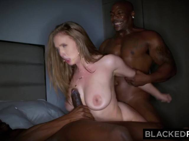 Black slut with massive tits rough face fucking in threesome hard porn